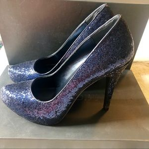 Michael Navy Glitter High Heel Pumps